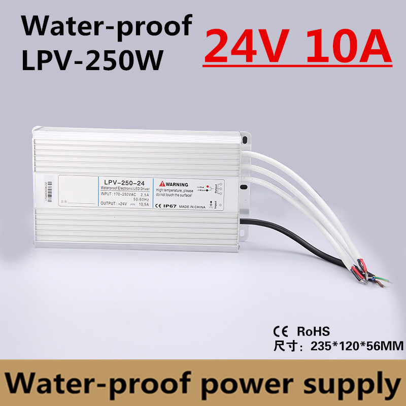 Factory outlet 250W 24V 10A IP67 Waterproof LED power supply outdoor use for led strip Driver Lighting Transformer (LPV-250-24) led driver transformer waterproof switching power supply adapter ac170 260v to dc48v 200w waterproof outdoor ip67 led strip