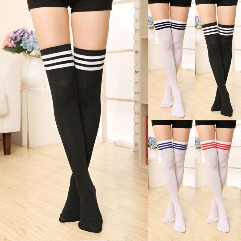 Hot Women Men Striped KNEE HIGH SPORT SOCCER FOOTBALL SOCKS TUBE Stockings