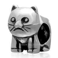 Vintage Tone Real 925 Sterling Silver Large Hole Cat Animal European Beads For European Charm Bracelets