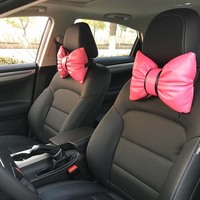 Charming Bowknot Hot Pink Leather Headrest Pillow Neck Rest Cushions for Car (2pcs)