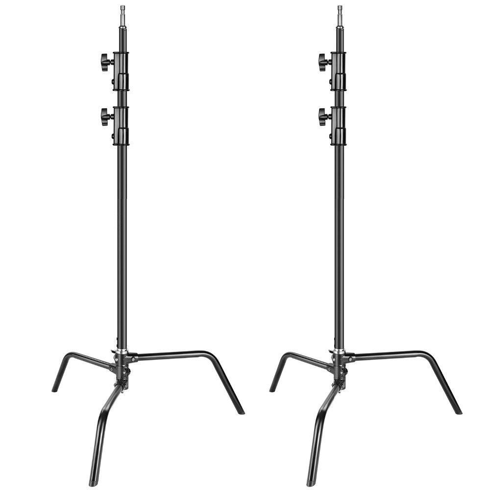 Neewer 2-pack support en alliage d'aluminium robuste c-stand-réglable 5-10 pieds/1.6-3.2 mètres support de lumière pour réflecteurs de photographie