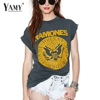 Été 2017 punk rock t-shirt Femmes Tops T-shirts Court manches o cou gris d'été T-shirt RAMONES imprimé Tops femme vêtements
