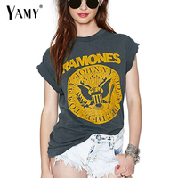 Hot 2016 European Style Women Letters Printed Top Tees Short Sleeve O Neck Grey Summer T