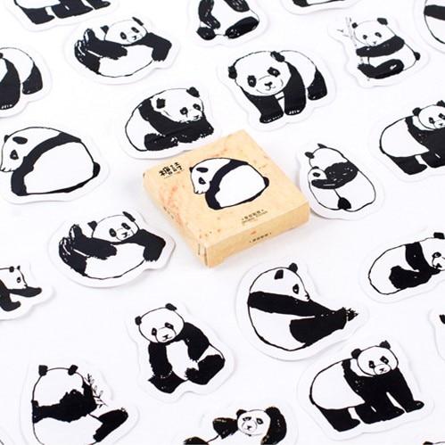 45 шт./упак. милые животные украшение в виде панды клейкие наклейки Diy наклейки с героями мультфильмов наклейки для дневника наклейки для скр...