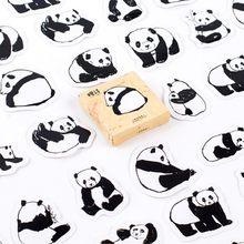 Adesivos decorativos panda de animais fofos, 45 unidades/pacote, desenhos animados, faça você mesmo, adesivos de papelaria, diário, scrapbook, papelaria