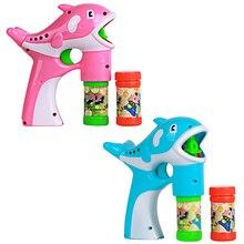Мигает Дельфин Пистолет Мыльные Пузыри Машина для Детей Пластиковые Дельфин Пузыря Игрушечный пистолет + 2 Х Жидкий Мыльный Пузырь Воды для Детей