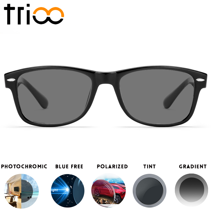 TRIOO Sunglasses With Diopters Driving Polarzied Prescription Sun Glasses Unisex Black Lens Myopia Minus Glasses Photochromic