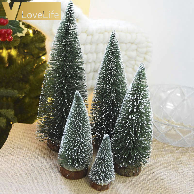 15pcs 4.5cm Diy Christmas Tree Small Pine Tree Placed In The Desktop Mini Trees For Home Christmas Decorations Kids Gifts Aesthetic Appearance