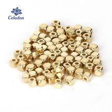 300-500 peças/saco 3mm/4mm ródio kc ouro ccb plástico quadrado sementes contas grande buraco diy charme espaçador grânulos para fazer jóias