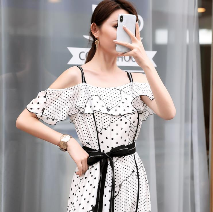 2019 Off Shoulder Strap Midi Dress Sexy Elegant Women Summer Dress With Belt Vestidos De Verano - 2