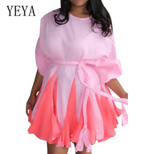 YEYA New Fashion Sweet Princess Dress Long Sleeve O-neck Hollow Out Mini Femme Ladies Pink Party Short Vestidos