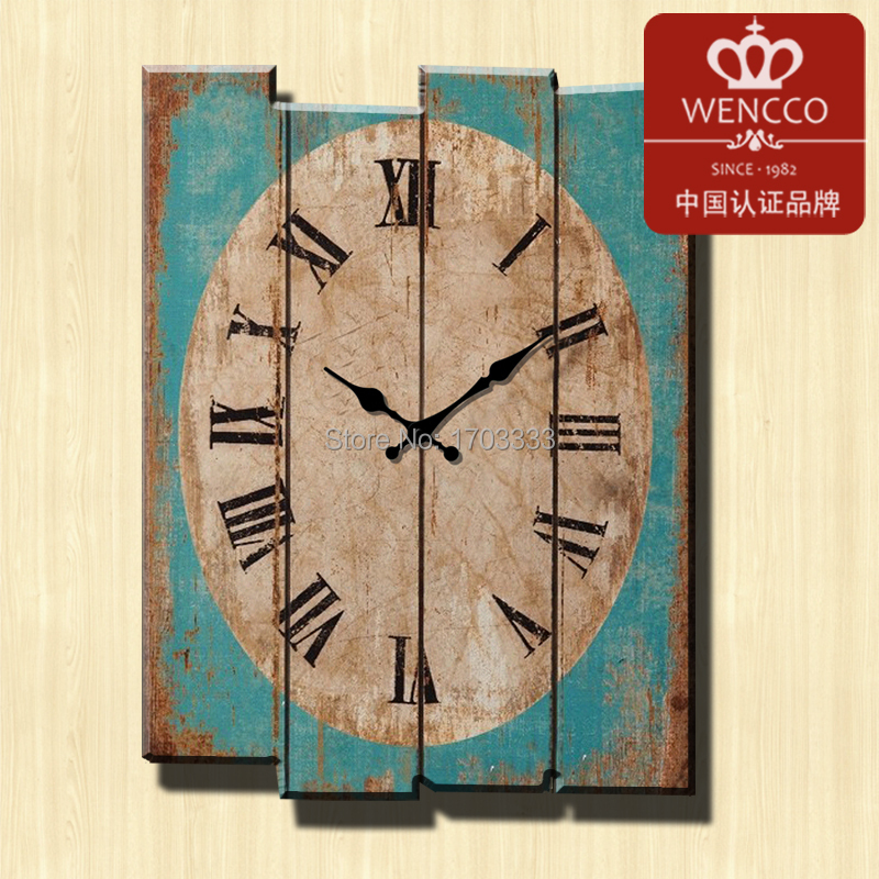 Wholesale 30*40CM Modern Designed Craft Retro Vintage Rustic Wall Clock Shabby Chic Home Coffee Shop Bar Decor