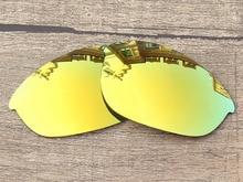 24K Golden Mirror Polarized Replacement Lenses For Half Jacket Sunglasses Frame 100% UVA & UVB Protection