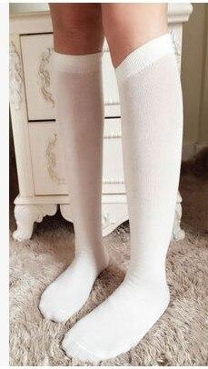 Fcare/10 шт. = 5 пар, Классические однотонные гетры белого и синего цвета, хлопковые носки до колена для школьной формы на Хэллоуин, 38,39 - Цвет: milky white