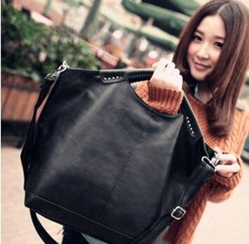 Mulheres saco Preto Novo Hot Alta Qualidade Mulheres bolsa pu pacote Rebite grande sacola Ombro designer de marca Famosa saco BAOK-e731