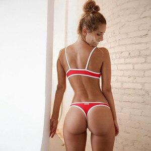 2 Piece Swimwear Women Bikini Push up Bathing Suit Beach Strapless Brazilian Swimsuit Sexy red G-string Thong Bikini Bra 2019