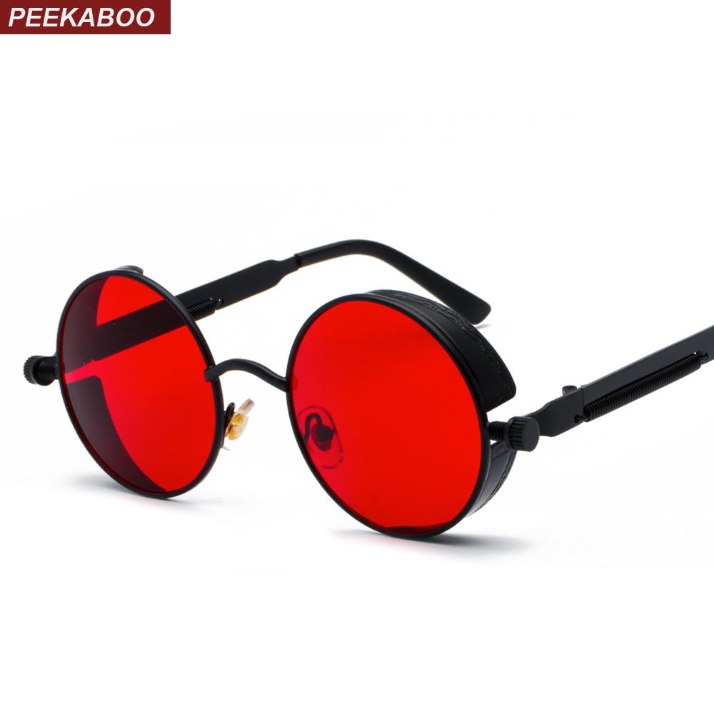 Peekaboo metal round steampunk sunglasses men women fashion summer 2018 pink blue yellow red round sun glasses for women unisex