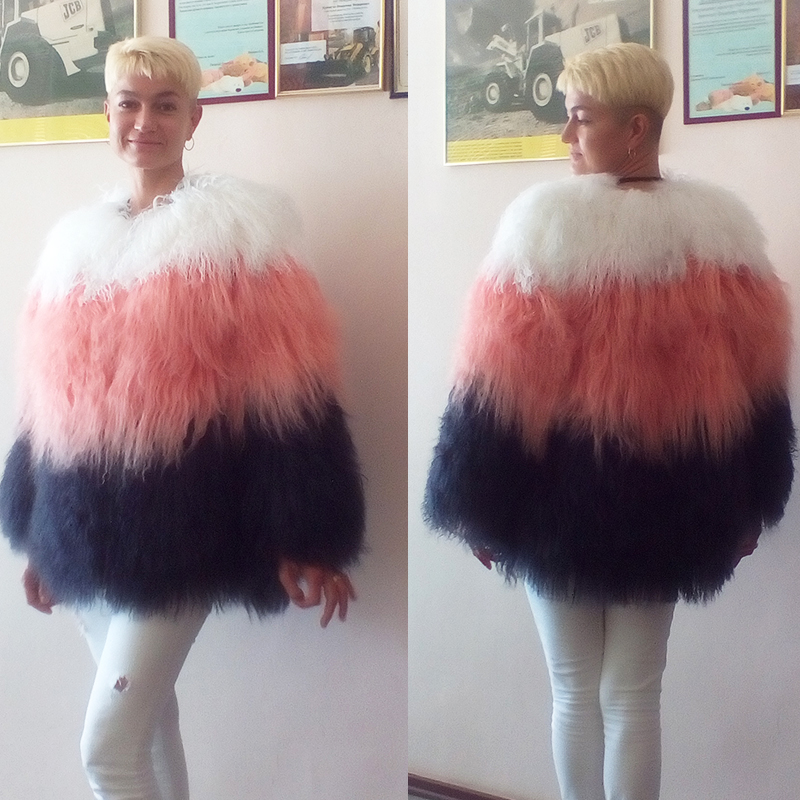 Winter Real Fur Coat for Women Mongolian Sheep Fur Jackets Natural ...