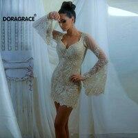 Doragrace V Neck Lace Party Dresses Short Cocktail Dress Mini Cocktail Dresses Long Sleeve Plus Size