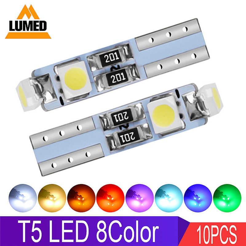 10 x T5 LED Car LED Lights 12516 W1.2W Auto Interior Lamp 3 1210 SMD Gauge Instrument light DC 12V