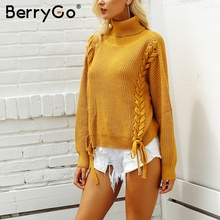 BerryGo Side cross lace up women sweater 2018 Elegant white sweaters pullover female Casual loose autumn winter jumpers sweaters