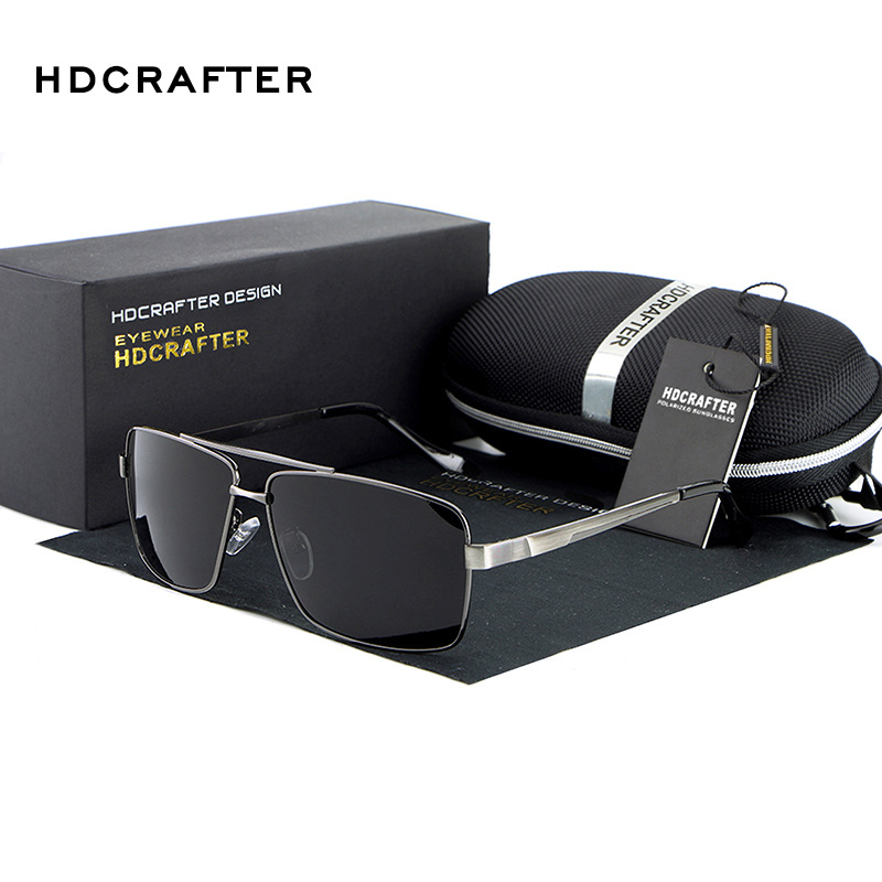 HDCRAFTER 2018 Men's Sunglasses Polarized Oversized Metal Frame Sun Glasses For Men Luxury Brand Designer Mirror oculos Male