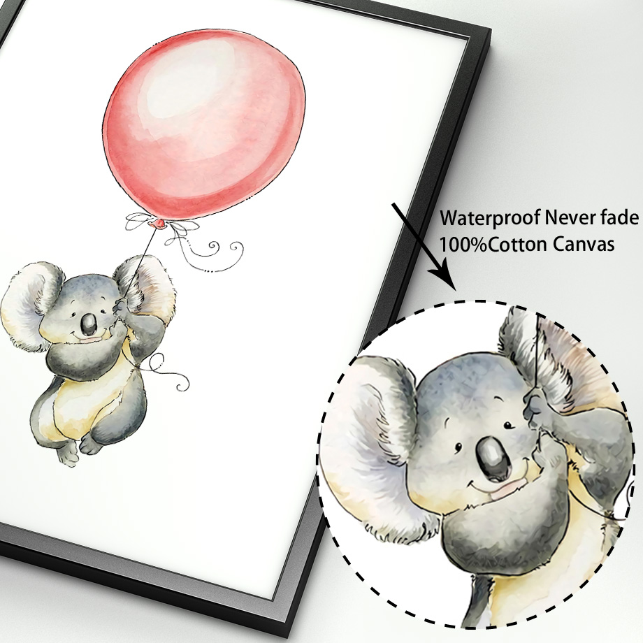 Image 4 - Mouse Koala Hedgehog kangaroo Balloon Nordic Posters And Prints Wall Art Canvas Painting Wall Pictures Baby Girl boy Room Decor-in Painting & Calligraphy from Home & Garden
