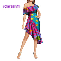 African Dresses for Women Sexy One Shoulder Traditional Africa Print Dress Elegant Lady Slash Neck Evening Party Dresses WY314