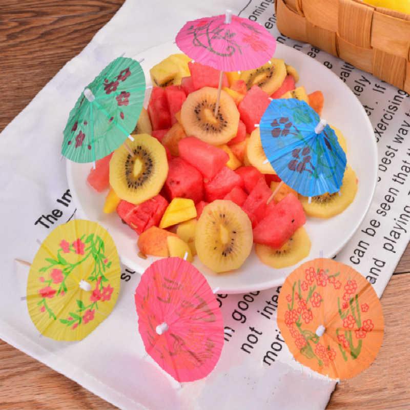 50 piezas de papel creativo paraguas pastel Topper cóctel bebidas sombrillas fruta palillo fiesta Favor cumpleaños/Decoración de fiesta de boda