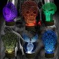 Frete Grátis 1 Piece Punisher Crânio Multi-colorido Bulbificação Lâmpada de Mesa Luz Da Noite Acrílico 3D Holograma Ilusão Do Crânio Do Açúcar
