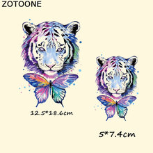 ZOTOONE Tiger Butterfly Heat Transfer Vinyl Patches Sticker Iron on for Clothes Fabric Animal Applique Badge E