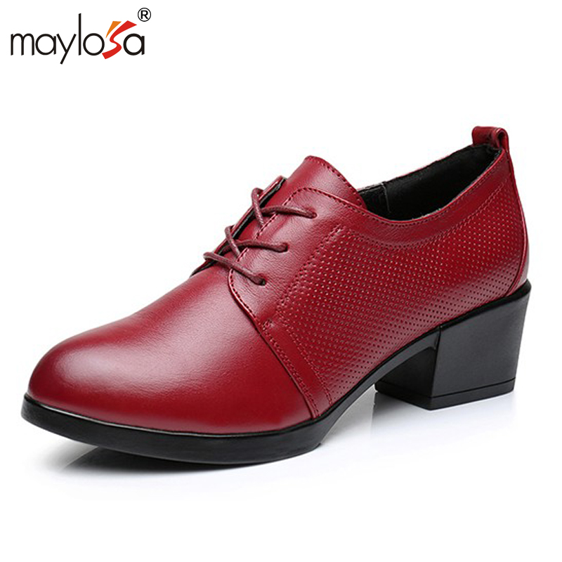 MAYLOSA women Spring Autumn Shoes 100% Genuine Leather Women Pumps Lady Leather Round Toe Platform Shallow Mouth Shoes women shoes spring autumn 100