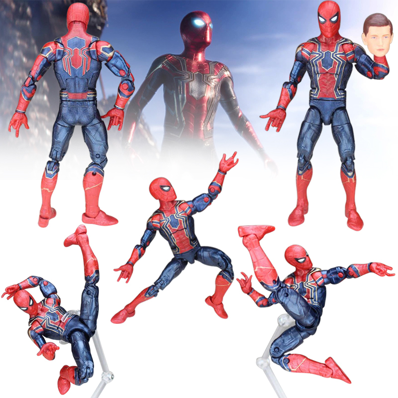 Infinity War Spiderman 2PCS Marvel Avengers Black Panther Action Figure Pizza Spider Man Deadpool Model Toys for Christmas Gift figma x man series spiderman figure no 001 revoltech deadpool with bracket no 002 revoltech spider man action figures