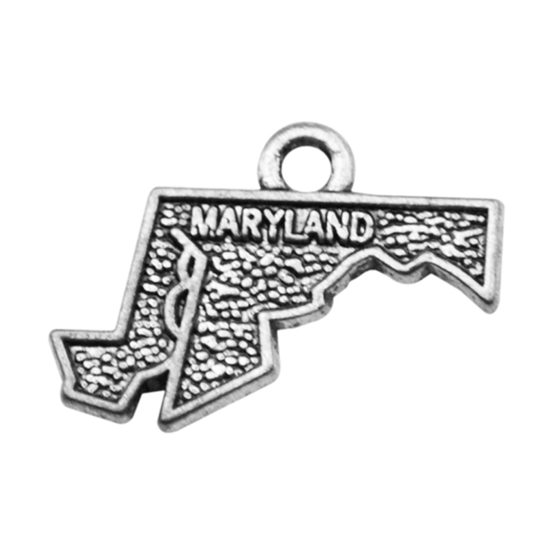 Wholesale 2 Style Antique Silver Maryland State USA Map Dangle Charms DIY For Bracelet Jewelry