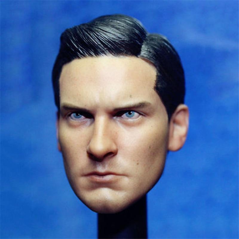 Mnotht Head Sculpt Custom Tobey Maguire 1/6 Head Sculpt Hot Toys Spiderman Black Suit Peter Parker Toys & Hobbies  Toys L30