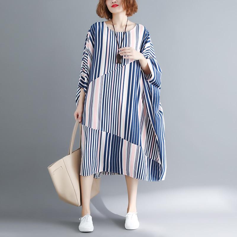 National Style Long Dresses Women Holiday Stripes Dress Vintage Ramie Cotton Dress Spring Autumn Dress