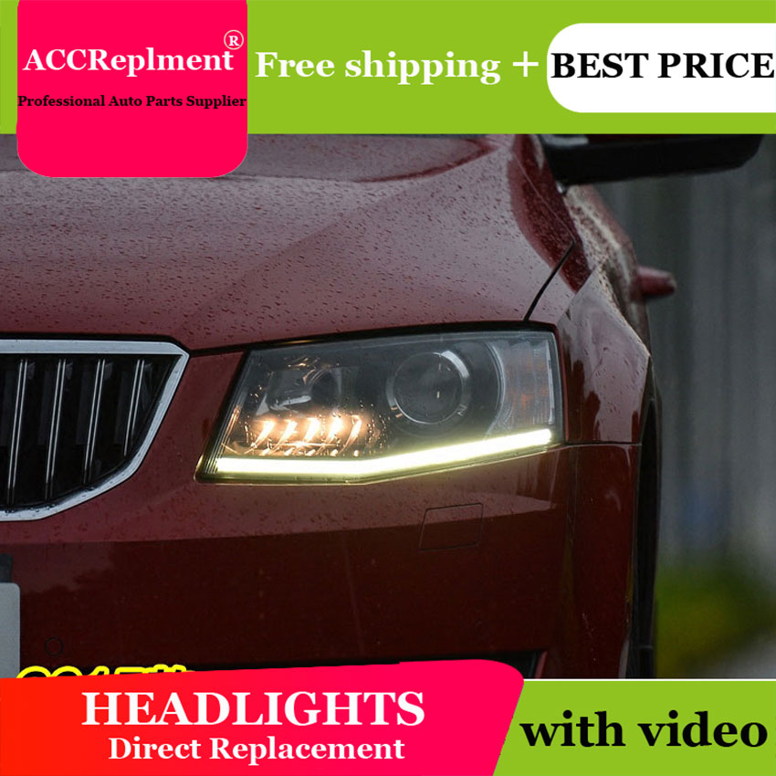 Car Styling for Skoda Octavia Headlights 2015 New LED Headlight DRL Lens Double Beam H7 HID Xenon bi xenon lens цена