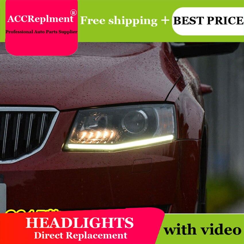 Car Styling for Skoda Octavia Headlights 2014 2015 New LED Headlight DRL Lens Double Beam H7 HID Xenon bi xenon lens