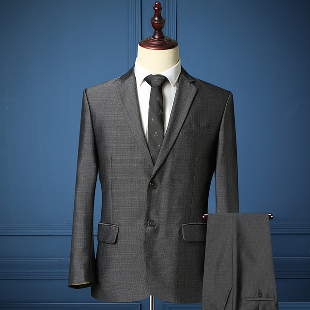 ( Jacket + Pants ) Hight Quality Gray Men Formal Business Affairs Occupation Casual Suits Wedding Groom Slim Fit Suit