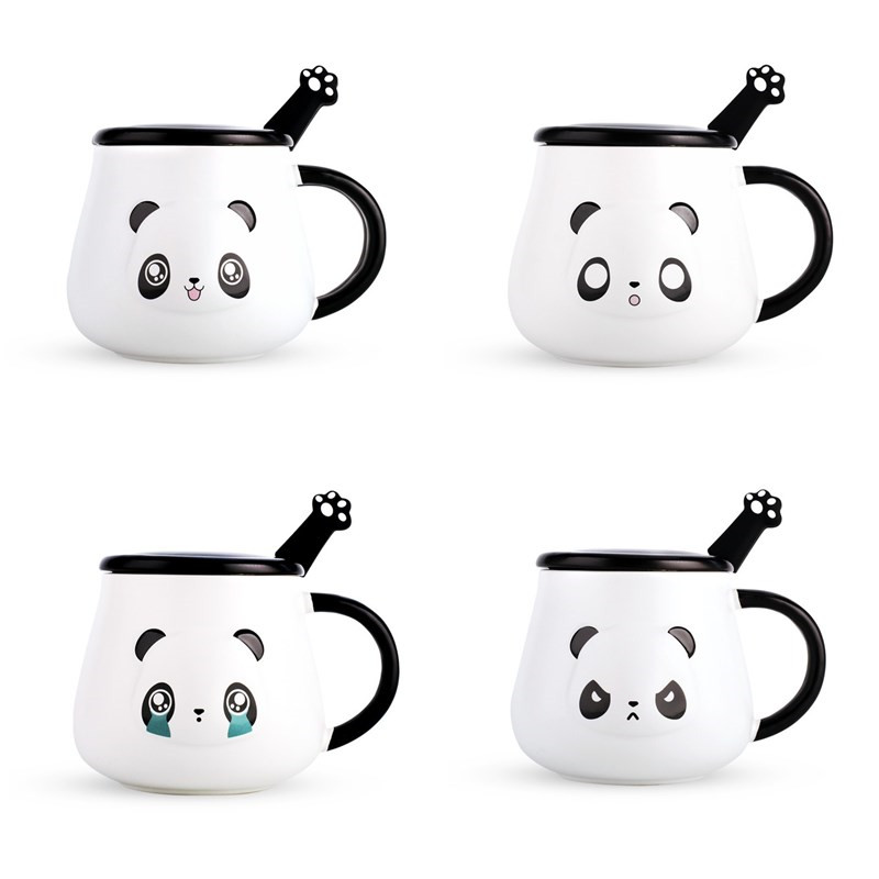 Cartoon panda ceramic mug coffee cup with lid spoon milk cup large capacity water cup couple cups