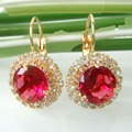 Navachi Circle  Red Cubic Zircon Crystal  Yellow Gold Plated  Hoop Earrings Free Shipping SMT2674