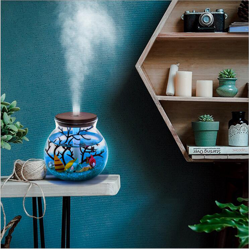 GRTCO 500ML Hand made Micro Landscape USB Ultrasonic Air Humidifier Colorful Led Night Light Essential Oil Diffuser Aroma Spray