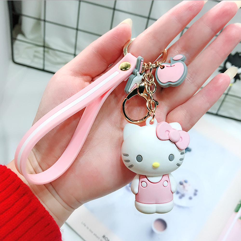 Cartoon Cute Key Chian Hello Kitty Doll KT Cat Keychains Women Girls Charm Bags key chain Accessories Pendant Car New Key ring in Key Chains from Jewelry Accessories