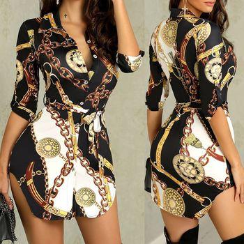 2018 style v-neck three quarter woman dress above knee mini fashi print patchwork sheath slim sashes female dress