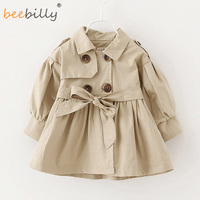 Girls Trench Coat 2017 New Children Long Coat Kids Blazer Cotton Outerwear Jackets Teenage Girls Clothing
