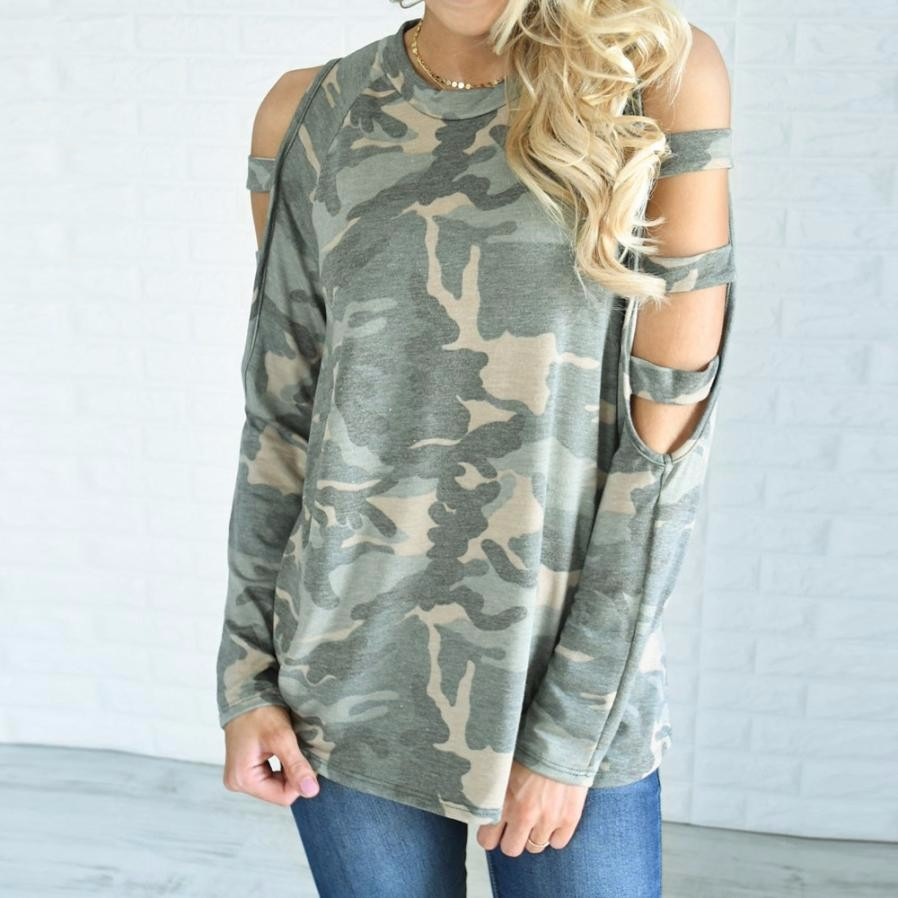 Women Camouflage Loose Long Sleeve Tops Off Shoulder Blouse Camisas Femininas Manga Long ...