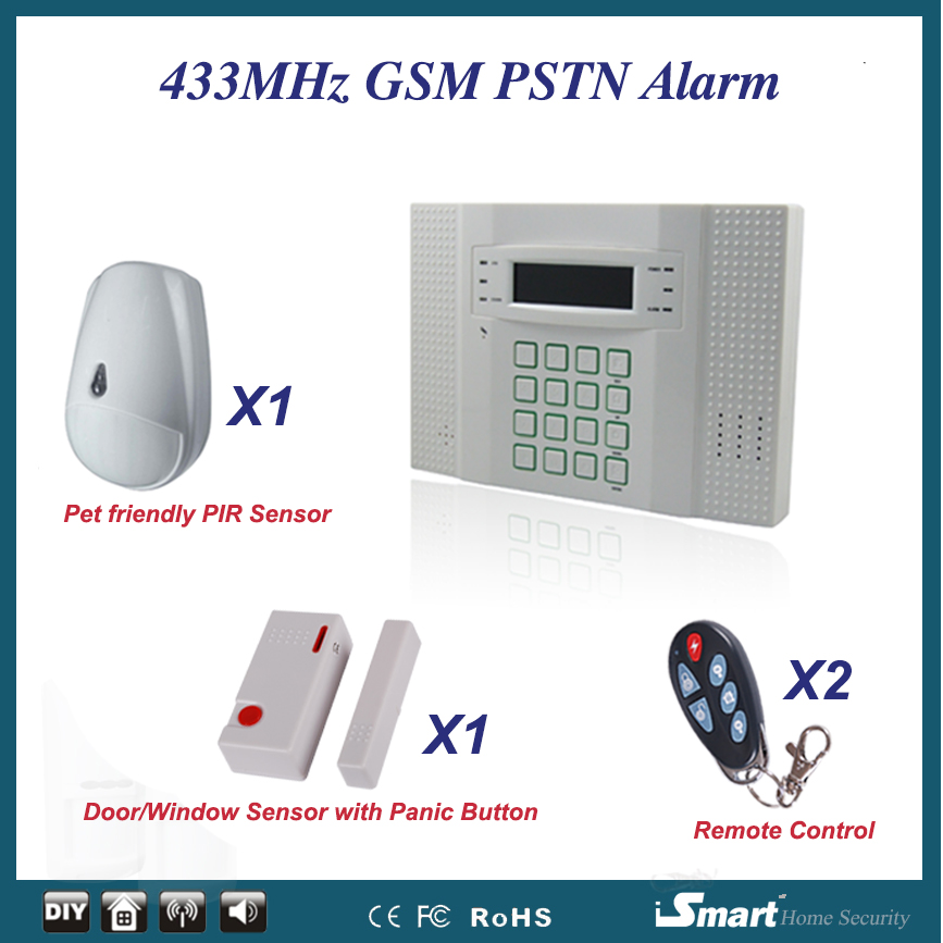 European Quality 433MHz Wireless PSTN GSM (SIM Card Call) House Alarme Systems with Pet Friendly PIR Sensor, Free Shipping wireless service call bell system popular in restaurant ce passed 433 92mhz full equipment watch pager 1 watch 7 call button