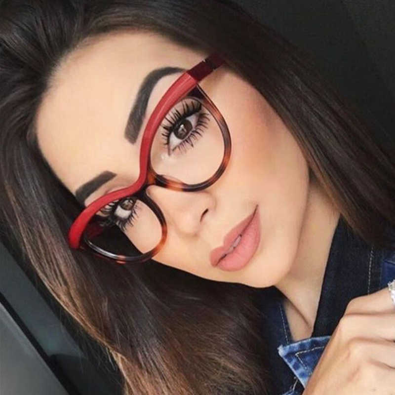 QPeClou Cat Eye Leopard Glasses Frame Women Brand Unique Stereoscopic Eyeglasses Frame Female Clear Lens No Degree Oculos UV400
