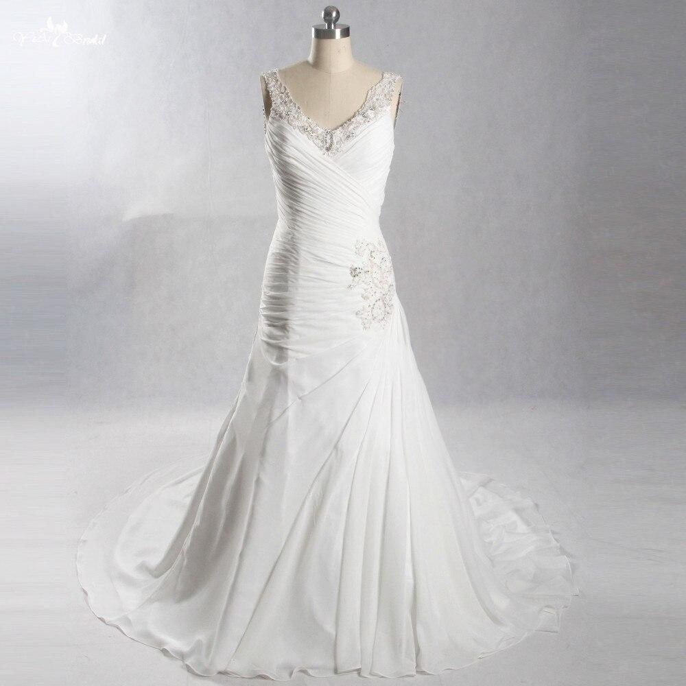 LZ243 Beading Pleat Sleeveless Wedding Dress Vestido De