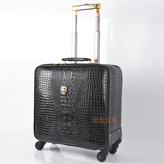 Unisex PU Leather Crocodile Pattern Spinner Carry-on Luggage High Quality Pull-on Luggage Cases Black Coffee Brown 16/18/20/24 1